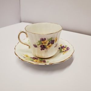 Old Royal china Tea cup and saucer purple yellow